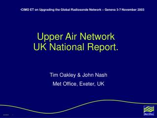 Upper Air Network  UK National Report.