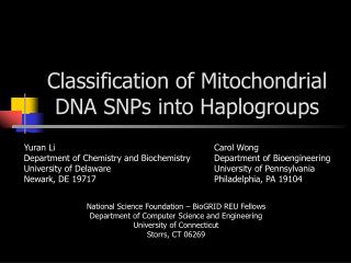 Classification of Mitochondrial DNA SNPs into Haplogroups