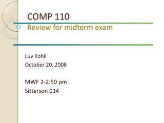 COMP 110 Review for midterm exam