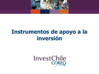 Instrumentos de apoyo a la inversi n