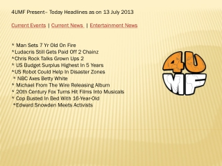 13 July 13 -Current Events | Current News | Entertainment Ne