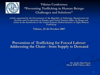 Vilnius Conference  Preventing Trafficking in Human Beings: Challenges and Solutions