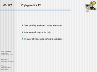 CS 177         Phylogenetics II