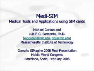 Medi-SIM Medical Tools and Applications using SIM cards