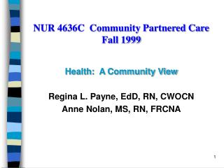 NUR 4636C  Community Partnered Care Fall 1999
