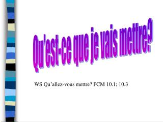 WS Qu allez-vous mettre PCM 10.1; 10.3