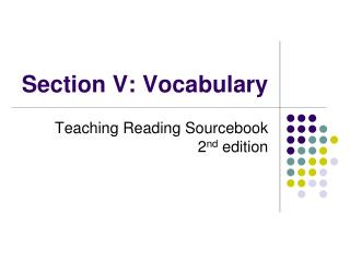 Section V: Vocabulary