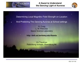Determining Local Magnetic Field Strength on Location  And Predicting The Dancing Auroras at School settings  N. Craig L