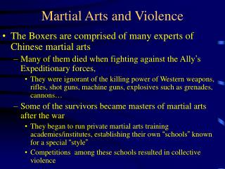 Martial Arts and Violence