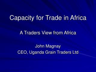 Capacity for Trade in Africa