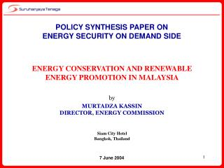 POLICY SYNTHESIS PAPER ON  ENERGY SECURITY ON DEMAND SIDE