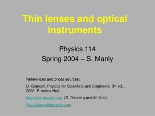 Thin lenses and optical instruments