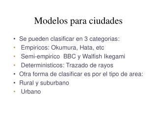 Modelos para ciudades