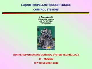 LIQUID PROPELLANT ROCKET ENGINE  CONTROL SYSTEMS
