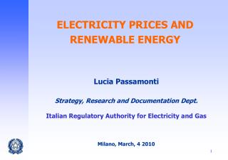 ELECTRICITY PRICES AND RENEWABLE ENERGY