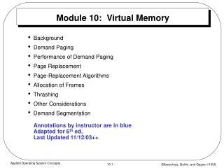 Module 10:  Virtual Memory