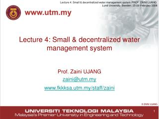 Lecture 4: Small  decentralized water management system