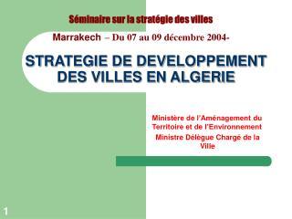 STRATEGIE DE DEVELOPPEMENT DES VILLES EN ALGERIE