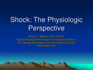 Shock: The Physiologic Perspective