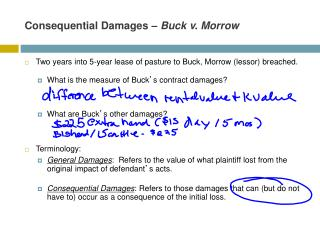 Consequential Damages   Buck v. Morrow