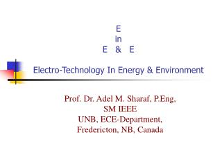 E  in  E      E  Electro-Technology In Energy  Environment