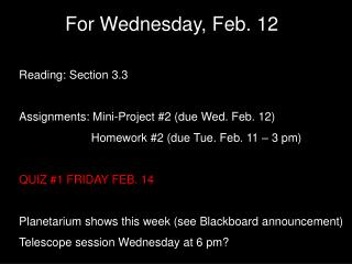 For Wednesday, Feb. 1