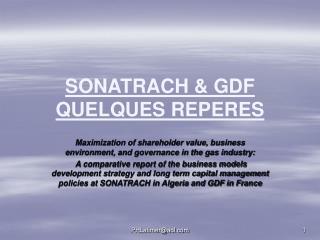 SONATRACH  GDF QUELQUES REPERES