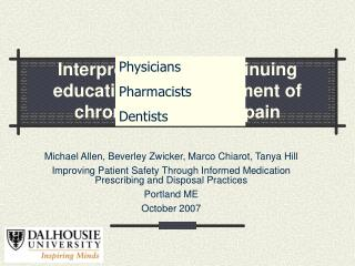 Interprofessional continuing education for management of chronic non-cancer pain