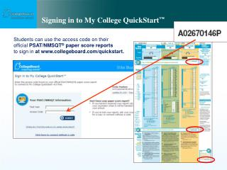 Signing in to My College QuickStart