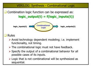 VERILOG: Synthesis - Combinational Logic