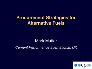 Procurement Strategies for Alternative Fuels