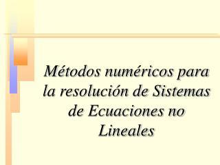 M todos num ricos para la resoluci n de Sistemas de Ecuaciones no Lineales