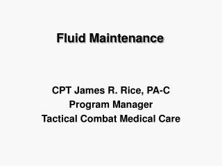 Fluid Maintenance