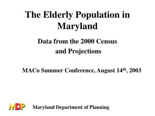 The Elderly Population in Maryland