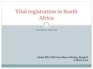 Vital registration in South Africa