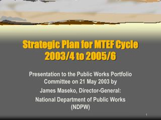 Strategic Plan for MTEF Cycle 2003