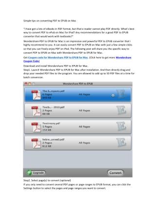 Simple tips on converting PDF to EPUB on Mac
