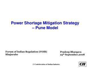 Power Shortage Mitigation Strategy    Pune Model