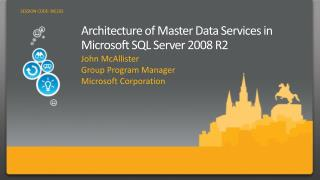 Architecture of Master Data Services in Microsoft SQL Server 2008 R2
