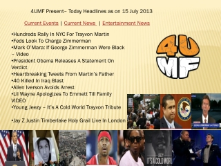 15 July 13 -Current Events | Current News | Entertainment Ne