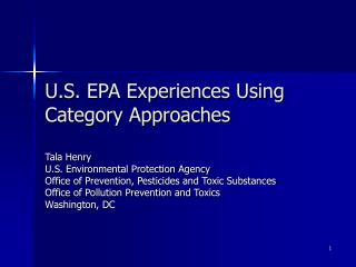 U.S. EPA Experiences Using Category Approaches