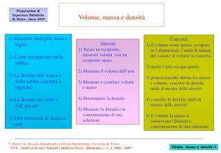 V. Montel, G. Rinaudo, Dipartimento di Fisica Sperimentale, Universit  di Torino  S.I.S.   Indirizzo Scienze Naturali e