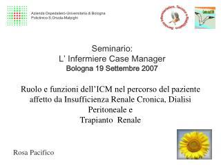 Seminario:  L  Infermiere Case Manager Bologna 19 Settembre 2007