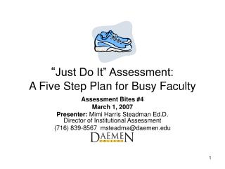 Just Do It  Assessment: A Five Step Plan for Busy Faculty