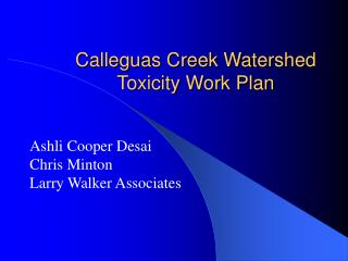Calleguas Creek Watershed Toxicity Work Plan