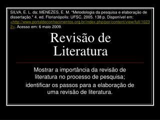 Revis o de Literatura