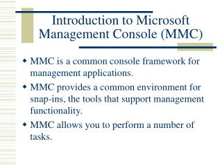 Introduction to Microsoft Management Console MMC