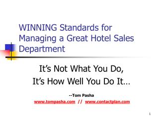 WINNING Standards for Managing a Great Hotel Sales Department