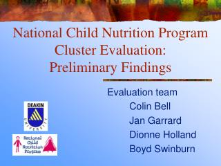 National Child Nutrition Program Cluster Evaluation:  Preliminary Findings