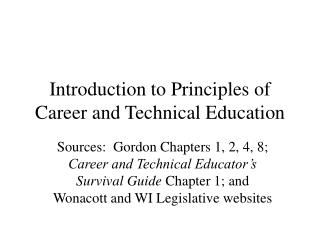 Introduction to Principles of Career and Technical Education